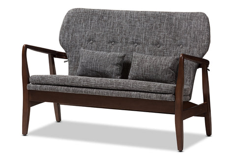 Baxton Studio Rundell Mid-Century Modern Walnut Wood Grey Fabric Upholstered 2-seater Loveseat-Sofas & Loveseats-HipBeds.com