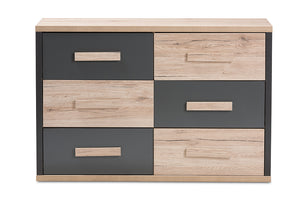 Baxton Studio Pandora Modern and Contemporary Dark Grey and Light Brown Two-Tone 6-Drawer Dresser-Chests-HipBeds.com