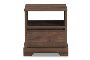 Baxton Studio Burnwood Modern and Contemporary Walnut Brown Finished Wood 1-Drawer Nightstand-Nightstands-HipBeds.com