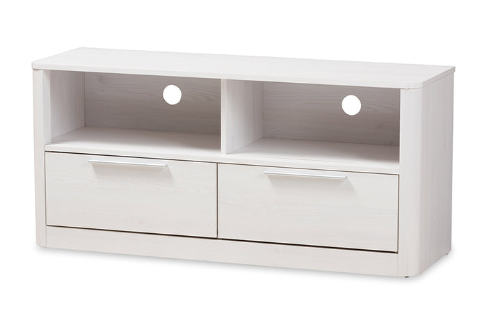 Baxton Studio Carlingford Modern and Contemporary Whitewashed Wood 2-Drawer TV Stand