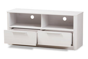Baxton Studio Carlingford Modern and Contemporary Whitewashed Wood 2-Drawer TV Stand Image 4
