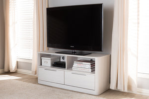 Baxton Studio Carlingford Modern and Contemporary Whitewashed Wood 2-Drawer TV Stand Image 8