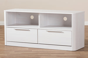 Baxton Studio Carlingford Modern and Contemporary Whitewashed Wood 2-Drawer TV Stand Image 9