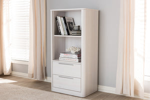 Baxton Studio Carlingford Modern and Contemporary Whitewashed Wood 2-Drawer Bookcase-Bookcases-HipBeds.com