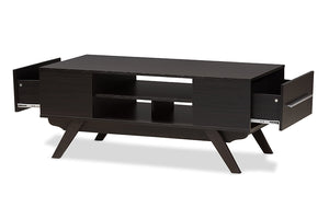Baxton Studio Ashfield Mid-Century Modern Espresso Brown Finished Wood 2-Drawer Coffee Table-Coffee Tables-HipBeds.com