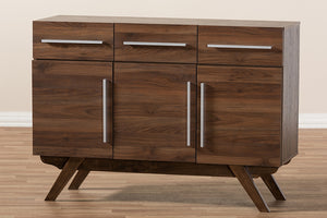 Baxton Studio Ashfield Mid-Century Modern Walnut Brown Finished Wood 3-Drawer Sideboard Image 12