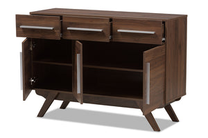 Baxton Studio Ashfield Mid-Century Modern Walnut Brown Finished Wood 3-Drawer Sideboard Image 4