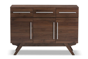 Baxton Studio Ashfield Mid-Century Modern Walnut Brown Finished Wood 3-Drawer Sideboard Image 5