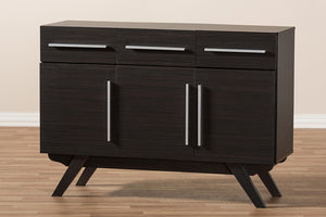Baxton Studio Ashfield Mid-Century Modern Espresso Brown Finished Wood 3-Drawer Sideboard Image 12
