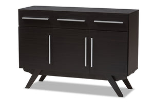 Baxton Studio Ashfield Mid-Century Modern Espresso Brown Finished Wood 3-Drawer Sideboard Image 3