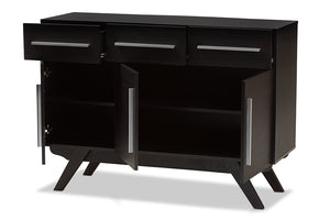 Baxton Studio Ashfield Mid-Century Modern Espresso Brown Finished Wood 3-Drawer Sideboard Image 4