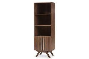 Baxton Studio Ashfield Mid-Century Modern Walnut Brown Finished Wood Bookcase-Bookcases-HipBeds.com