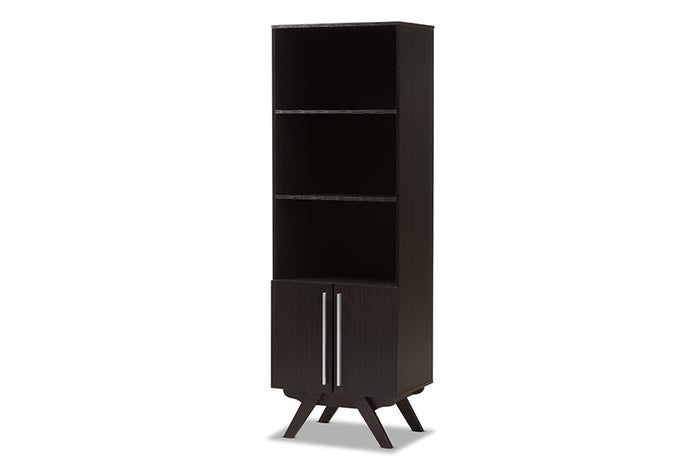 Baxton Studio Ashfield Mid-Century Modern Espresso Brown Finished Wood Bookcase