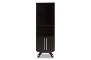 Baxton Studio Ashfield Mid-Century Modern Espresso Brown Finished Wood Bookcase-Bookcases-HipBeds.com