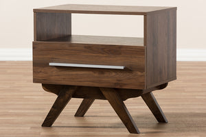 Baxton Studio Ashfield Mid-Century Modern Walnut Brown Finished Wood Nightstand Image 12