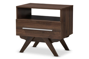 Baxton Studio Ashfield Mid-Century Modern Walnut Brown Finished Wood Nightstand Image 3