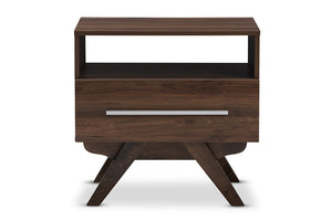 Baxton Studio Ashfield Mid-Century Modern Walnut Brown Finished Wood Nightstand Image 5