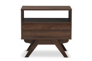 Baxton Studio Ashfield Mid-Century Modern Walnut Brown Finished Wood Nightstand Image 7