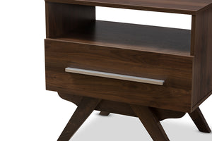 Baxton Studio Ashfield Mid-Century Modern Walnut Brown Finished Wood Nightstand Image 8