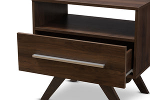 Baxton Studio Ashfield Mid-Century Modern Walnut Brown Finished Wood Nightstand Image 9