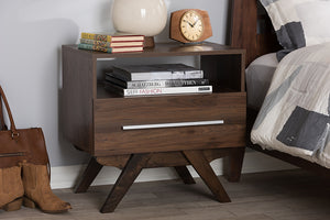 Baxton Studio Ashfield Mid-Century Modern Walnut Brown Finished Wood Nightstand Image 11