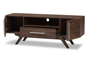 Baxton Studio Ashfield Mid-Century Modern Walnut Brown Finished Wood TV Stand Image 4