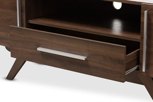 Baxton Studio Ashfield Mid-Century Modern Walnut Brown Finished Wood TV Stand Image 8
