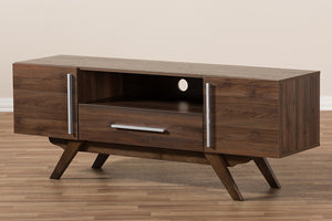 Baxton Studio Ashfield Mid-Century Modern Walnut Brown Finished Wood TV Stand Image 11