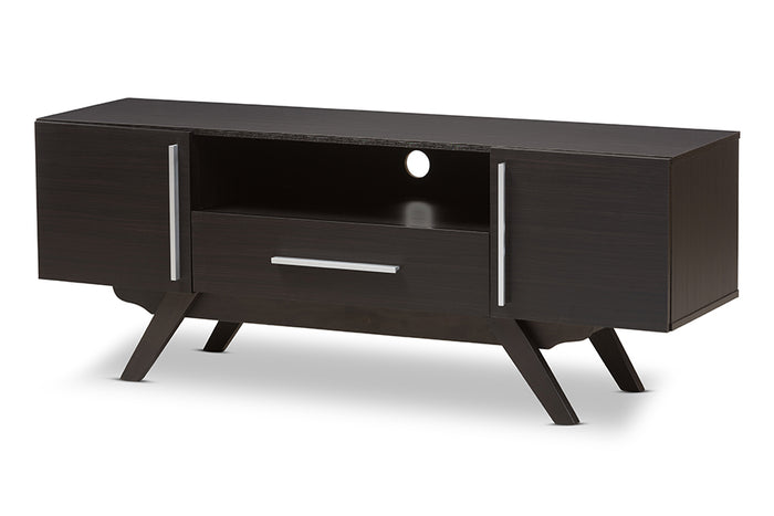 Baxton Studio Ashfield Mid-Century Modern Espresso Brown Finished Wood TV Stand