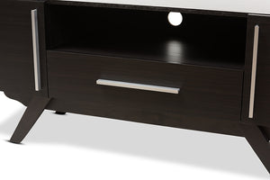 Baxton Studio Ashfield Mid-Century Modern Espresso Brown Finished Wood TV Stand-TV Stands-HipBeds.com