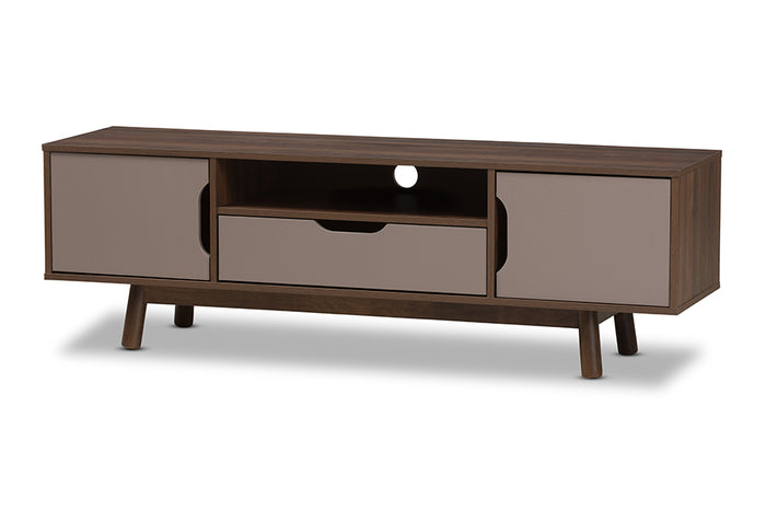 Baxton Studio Britta Mid-Century Modern Walnut Brown and Grey Two-Tone Finished Wood TV Stand