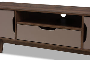Baxton Studio Britta Mid-Century Modern Walnut Brown and Grey Two-Tone Finished Wood TV Stand Image 8