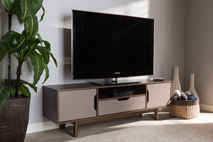 Baxton Studio Britta Mid-Century Modern Walnut Brown and Grey Two-Tone Finished Wood TV Stand Image 11