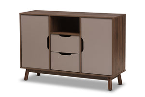 Baxton Studio Britta Mid-Century Modern Walnut Brown and Grey Two-Tone Finished Wood Sideboard-Sideboards-HipBeds.com