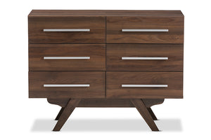 Baxton Studio Auburn Mid-Century Modern Walnut Brown Finished Wood 6-Drawer Dresser Image 5