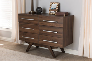 Baxton Studio Auburn Mid-Century Modern Walnut Brown Finished Wood 6-Drawer Dresser Image 10
