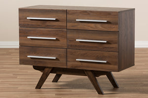 Baxton Studio Auburn Mid-Century Modern Walnut Brown Finished Wood 6-Drawer Dresser Image 11