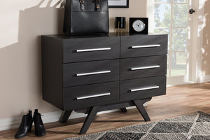 Baxton Studio Auburn Mid-Century Modern Espresso Brown Finished Wood 6-Drawer Dresser Image 10