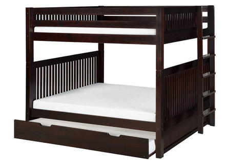Camaflexi Bunk Bed - Camaflexi Full over Full Bunk Bed with Twin Trundle - Mission Headboard - Bed End Ladder - Cappuccino Finish - C1612L_TR-Bunk Beds-HipBeds.com