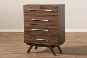 Baxton Studio Auburn Mid-Century Modern Walnut Brown Finished Wood 5-Drawer Chest Image 11