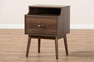 Baxton Studio Disa Mid-Century Modern Walnut Brown Finished Nightstand Image 12
