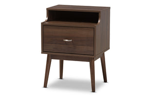 Baxton Studio Disa Mid-Century Modern Walnut Brown Finished Nightstand Image 3
