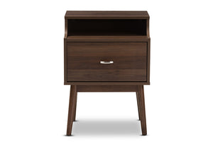 Baxton Studio Disa Mid-Century Modern Walnut Brown Finished Nightstand Image 5