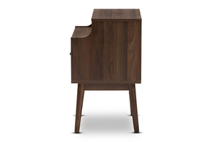 Baxton Studio Disa Mid-Century Modern Walnut Brown Finished Nightstand Image 6