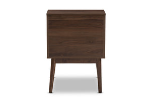 Baxton Studio Disa Mid-Century Modern Walnut Brown Finished Nightstand Image 7