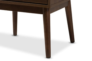 Baxton Studio Disa Mid-Century Modern Walnut Brown Finished Nightstand Image 10