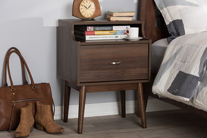 Baxton Studio Disa Mid-Century Modern Walnut Brown Finished Nightstand Image 11