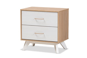 Baxton Studio Helena Mid-Century Modern Natural Oak and Whitewashed Finished Wood 2-Drawer Nightstand Image 3