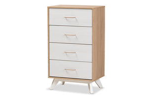 Baxton Studio Helena Mid-Century Modern Natural Oak and Whitewashed Finished Wood 4-Drawer Chest Image 3