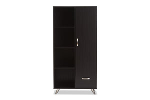 Baxton Studio Warwick Modern and Contemporary Espresso Brown Finished Wood Bookcase-Bookcases-HipBeds.com